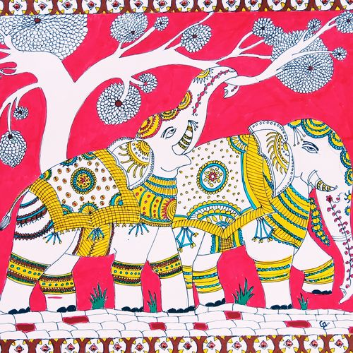 kalamkari elephants, 11 x 14 inch, gerald jerry,11x14inch,drawing paper,animal paintings,elephant paintings,paintings for living room,paintings for bedroom,paintings for living room,paintings for bedroom,watercolor,GAL01251823084