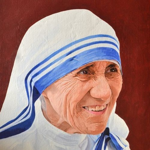 mother teresa, 14 x 18 inch, mithran acharya ,14x18inch,canvas,paintings,portrait paintings,photorealism,portraiture,realistic paintings,mother teresa paintings,paintings for living room,paintings for hotel,paintings for school,paintings for hospital,acrylic color,GAL01221323100