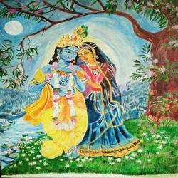 radha krishna ( by the light of the moon), 18 x 24 inch, kamakshi jamwal,18x24inch,canvas board,paintings,religious paintings,radha krishna paintings,paintings for dining room,paintings for living room,acrylic color,GAL0313723118