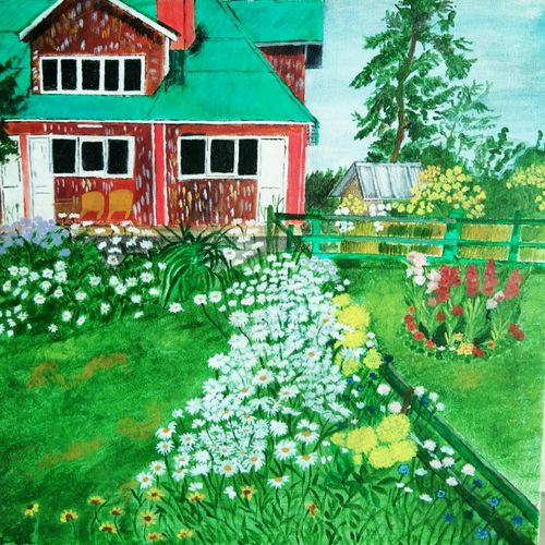 dainty daisies in gulmarg ( highland park), 20 x 20 inch, kamakshi jamwal,20x20inch,canvas,paintings,landscape paintings,paintings for dining room,paintings for living room,paintings for bedroom,paintings for office,paintings for hotel,paintings for school,paintings for hospital,acrylic color,GAL0313723122