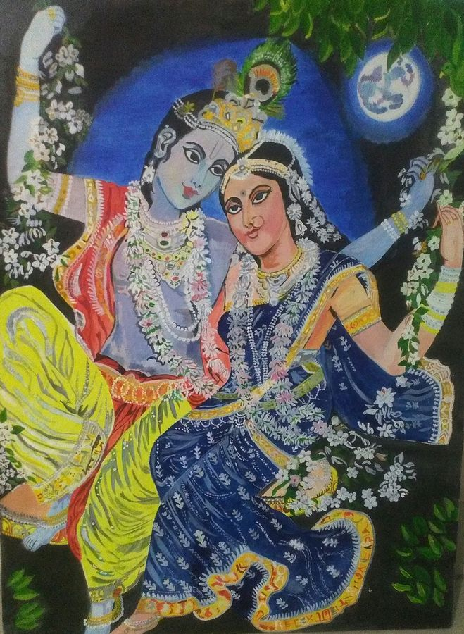 eternal love, 18 x 24 inch, kamakshi jamwal,18x24inch,canvas,paintings,radha krishna paintings,paintings for dining room,paintings for living room,paintings for bedroom,paintings for hotel,paintings for school,paintings for hospital,oil color,GAL0313723123