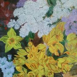 joyful daffodils and lilacs, 18 x 24 inch, kamakshi jamwal,18x24inch,canvas board,paintings,flower paintings,paintings for dining room,paintings for living room,paintings for bedroom,paintings for office,paintings for hotel,paintings for school,paintings for hospital,paintings for dining room,paintings for living room,paintings for bedroom,paintings for office,paintings for hotel,paintings for school,paintings for hospital,acrylic color,GAL0313723124