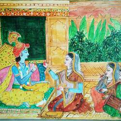 radha krishna, 18 x 14 inch, kamakshi jamwal,18x14inch,canvas,paintings,radha krishna paintings,paintings for dining room,paintings for living room,paintings for bedroom,paintings for office,paintings for hotel,paintings for school,paintings for hospital,acrylic color,GAL0313723125