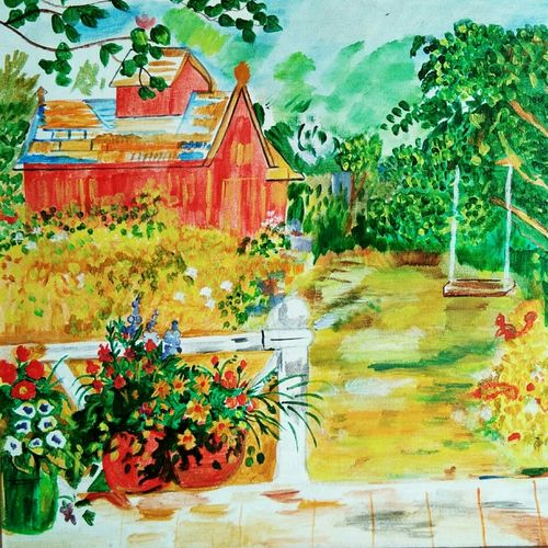 porchside view, 18 x 14 inch, kamakshi jamwal,18x14inch,canvas,paintings,landscape paintings,paintings for dining room,paintings for living room,paintings for bedroom,paintings for office,paintings for bathroom,paintings for kids room,paintings for hotel,paintings for school,paintings for hospital,acrylic color,GAL0313723126