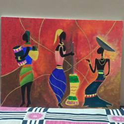 tribals, 11 x 15 inch, megha dutta,11x15inch,canvas board,paintings,folk art paintings,paintings for dining room,paintings for living room,paintings for bedroom,paintings for office,paintings for kids room,paintings for hotel,paintings for kitchen,paintings for school,paintings for hospital,acrylic color,GAL01106523127