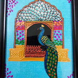 peacock in the window, 6 x 8 inch, deepti agrawal,6x8inch,acrylic glass,paintings,wildlife paintings,landscape paintings,illustration paintings,paintings for dining room,paintings for bedroom,paintings for office,paintings for kids room,paintings for hotel,paintings for school,paintings for hospital,acrylic color,GAL0596823128