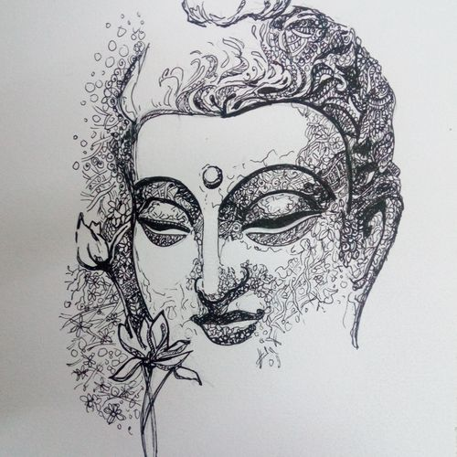 the enlightened one, 6 x 8 inch, deepti agrawal,6x8inch,cartridge paper,drawings,illustration drawings,buddha drawings,paintings for dining room,paintings for living room,paintings for bedroom,paintings for office,paintings for bathroom,paintings for kids room,paintings for hotel,paintings for kitchen,paintings for school,paintings for hospital,pen color,GAL0596823132