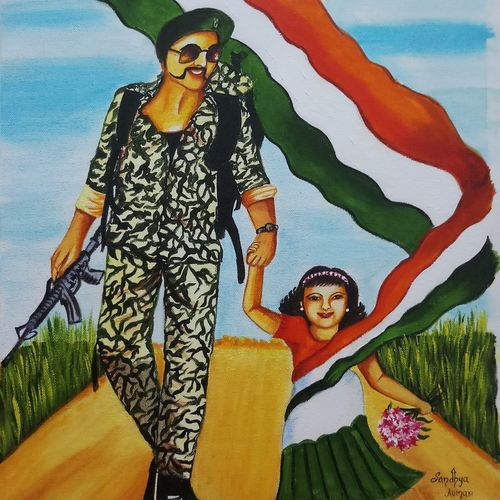 shoorveer abhinandan, 16 x 20 inch, sandhya kumari,16x20inch,canvas board,paintings,flower paintings,portrait paintings,nature paintings,love paintings,paintings for dining room,paintings for living room,paintings for bedroom,paintings for office,paintings for kids room,paintings for hotel,paintings for kitchen,paintings for school,paintings for hospital,acrylic color,GAL0365923134