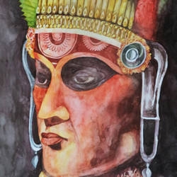 a traditional face, 22 x 14 inch, haricreative spot,22x14inch,renaissance watercolor paper,figurative paintings,paintings for living room,paintings for living room,watercolor,GAL01306723142