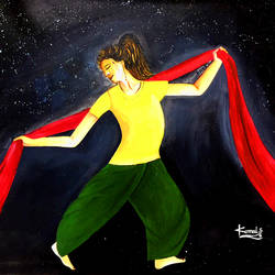 dancing girl, 39 x 24 inch, komal savaliya,39x24inch,canvas,paintings,figurative paintings,paintings for living room,paintings for bedroom,paintings for hotel,paintings for school,acrylic color,GAL01248123143
