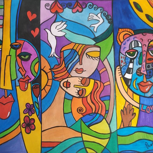 affection, 8 x 10 inch, rayana saha,8x10inch,drawing paper,paintings,abstract paintings,paintings for dining room,paintings for living room,paintings for bedroom,paintings for hotel,pen color,poster color,watercolor,GAL01304623149