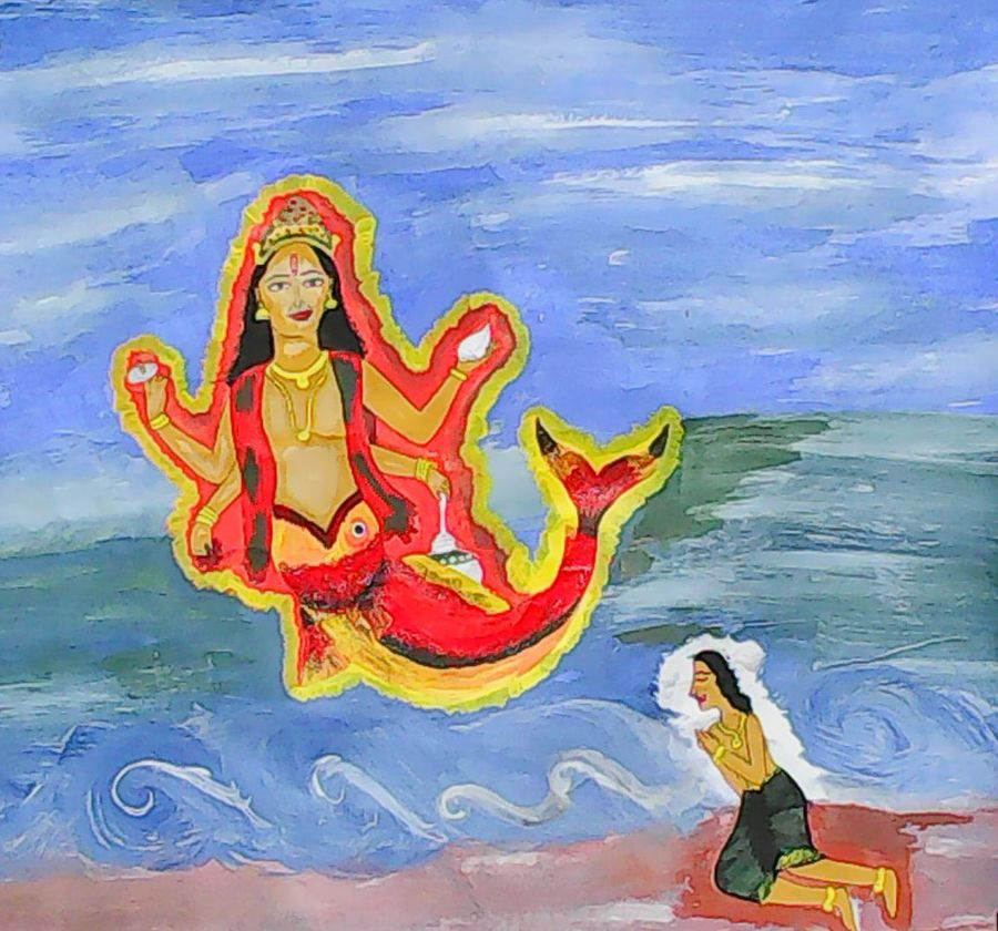 matsya avathar , 21 x 19 inch, chithra ravindran,religious paintings,paintings for dining room,thick paper,acrylic color,21x19inch,GAL08312315