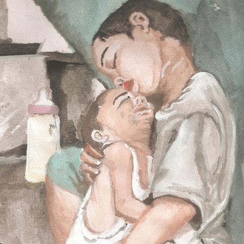 brothers, 12 x 18 inch, sai prasshant paladugu,12x18inch,thick paper,paintings,conceptual paintings,portrait paintings,expressionist paintings,impressionist paintings,portraiture,contemporary paintings,love paintings,paintings for dining room,paintings for living room,paintings for office,paintings for hotel,paintings for school,paintings for hospital,watercolor,GAL01151523153