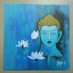 buddha , 12 x 12 inch, gayathri m,12x12inch,canvas,paintings,buddha paintings,paintings for dining room,paintings for living room,paintings for office,paintings for kids room,paintings for hotel,paintings for kitchen,paintings for school,paintings for hospital,acrylic color,GAL01286123159