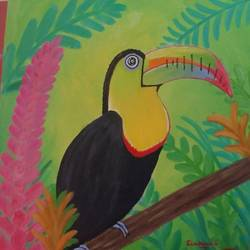 rainforest toucan, 16 x 16 inch, sivakami  ganesh,16x16inch,canvas,nature paintings,paintings for living room,paintings for living room,acrylic color,GAL0823123172