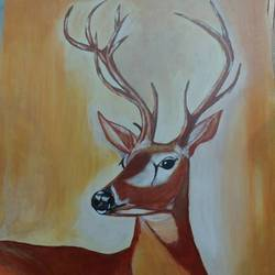 stag, 18 x 24 inch, sivakami  ganesh,18x24inch,canvas,paintings,nature paintings,paintings for living room,acrylic color,GAL0823123173