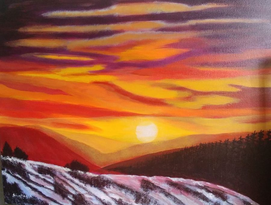 sunset, 24 x 18 inch, sivakami  ganesh,24x18inch,canvas,paintings,nature paintings,paintings for living room,acrylic color,GAL0823123174