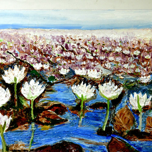 valley of flowers-6, 45 x 26 inch, anand manchiraju,45x26inch,canvas,paintings,flower paintings,paintings for dining room,paintings for living room,paintings for office,paintings for hotel,paintings for hospital,oil color,GAL01254023183