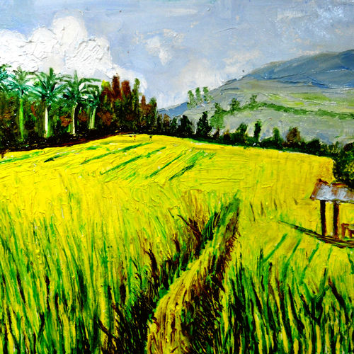 rice fields, 44 x 26 inch, anand manchiraju,44x26inch,canvas,paintings,flower paintings,paintings for dining room,paintings for living room,paintings for bedroom,paintings for office,paintings for hotel,paintings for hospital,oil color,GAL01254023189