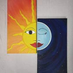 sun and moon set of two paintings, 12 x 24 inch, darshita mittal,12x24inch,canvas,paintings,multi piece paintings,art deco paintings,illustration paintings,paintings for dining room,paintings for living room,paintings for bedroom,oil color,GAL01265423197