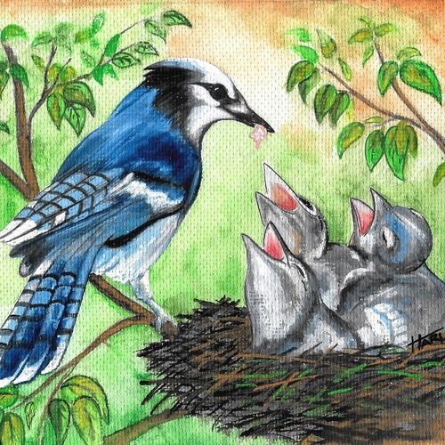 birds , 7 x 9 inch, hari  kashyap,7x9inch,handmade paper,paintings,wildlife paintings,paintings for living room,paintings for office,paintings for kids room,acrylic color,watercolor,GAL0538423203
