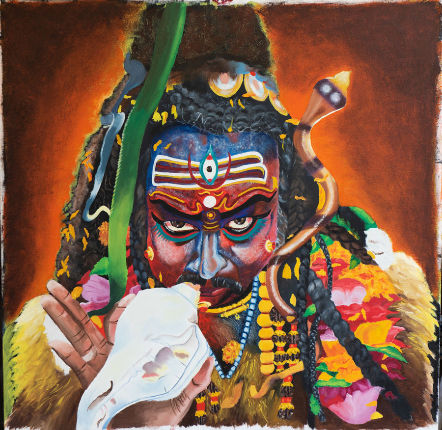 shiva, 36 x 36 inch, smita chatterjee,36x36inch,canvas,paintings,figurative paintings,religious paintings,portrait paintings,lord shiva paintings,paintings for living room,paintings for office,paintings for hotel,paintings for school,paintings for hospital,paintings for living room,paintings for office,paintings for hotel,paintings for school,paintings for hospital,oil color,GAL0985623208