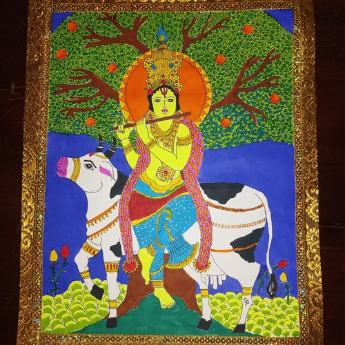 krishna with flute, 11 x 14 inch, gerald jerry,11x14inch,drawing paper,paintings,expressionist paintings,paintings for living room,paintings for bedroom,fabric,watercolor,GAL01251823210
