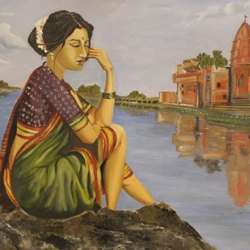 waiting for you, 24 x 18 inch, subhash gijare,24x18inch,canvas,paintings,figurative paintings,landscape paintings,realistic paintings,paintings for dining room,paintings for living room,paintings for bedroom,paintings for office,paintings for bathroom,paintings for kids room,paintings for hotel,paintings for kitchen,paintings for school,paintings for hospital,oil color,GAL013823212
