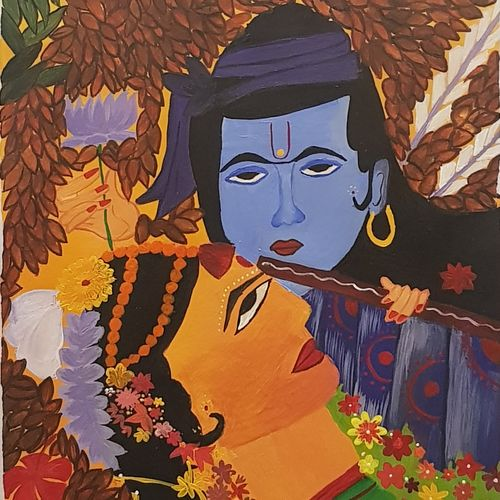 radha krishna, 12 x 17 inch, tanya singh,12x17inch,drawing paper,radha krishna paintings,paintings for living room,paintings for living room,acrylic color,GAL0509723215