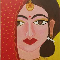 indian bride, 12 x 15 inch, tanya singh,12x15inch,canvas,paintings,portraiture,paintings for living room,paintings for office,acrylic color,GAL0509723218