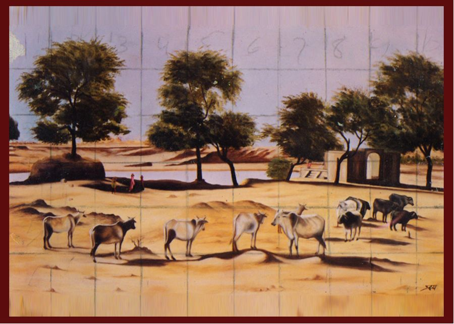 animals evening meeting, 3 x 2 inch, meena  kumari,folk art paintings,paintings for living room,nature paintings,canvas,oil,3x2inch,GAL08972322Nature,environment,Beauty,scenery,greenery
