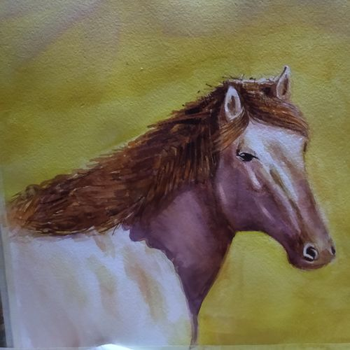 horse, 15 x 11 inch, surendra  panchal,15x11inch,handmade paper,paintings,wildlife paintings,animal paintings,horse paintings,paintings for living room,paintings for bedroom,paintings for hotel,paintings for living room,paintings for bedroom,paintings for hotel,watercolor,GAL01323523223