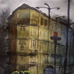 city scape, 15 x 11 inch, surendra  panchal,15x11inch,handmade paper,paintings,cityscape paintings,landscape paintings,paintings for living room,paintings for office,paintings for hotel,paintings for school,watercolor,GAL01323523224