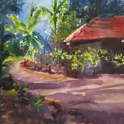 village house, 15 x 11 inch, surendra  panchal,15x11inch,handmade paper,paintings,landscape paintings,paintings for living room,paintings for office,paintings for school,watercolor,GAL01323523226