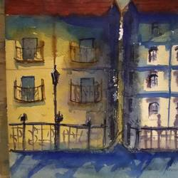 city scape, 15 x 11 inch, surendra  panchal,15x11inch,handmade paper,paintings,cityscape paintings,landscape paintings,paintings for living room,paintings for office,paintings for hotel,paintings for school,watercolor,GAL01323523227