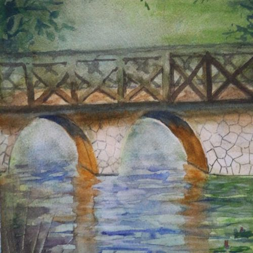 bridge and river, 12 x 9 inch, surendra  panchal,12x9inch,canvas board,paintings,landscape paintings,paintings for living room,paintings for office,paintings for school,watercolor,GAL01323523228