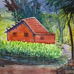 village house, 15 x 11 inch, surendra  panchal,15x11inch,handmade paper,paintings,landscape paintings,paintings for living room,paintings for office,paintings for hotel,watercolor,GAL01323523229