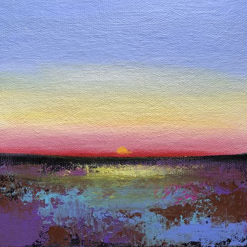 lovely sunset ! miniature ! small painting, 6 x 6 inch, amita dand,6x6inch,canvas,paintings,abstract paintings,landscape paintings,paintings for dining room,paintings for living room,paintings for office,paintings for bathroom,paintings for hotel,paintings for school,paintings for hospital,acrylic color,GAL0146723230