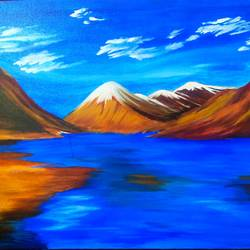 sky mountain water, 24 x 18 inch, goutam ashish mohapatra,24x18inch,canvas board,paintings,landscape paintings,paintings for dining room,paintings for living room,paintings for bedroom,paintings for office,paintings for hotel,paintings for school,paintings for hospital,acrylic color,GAL01323823236