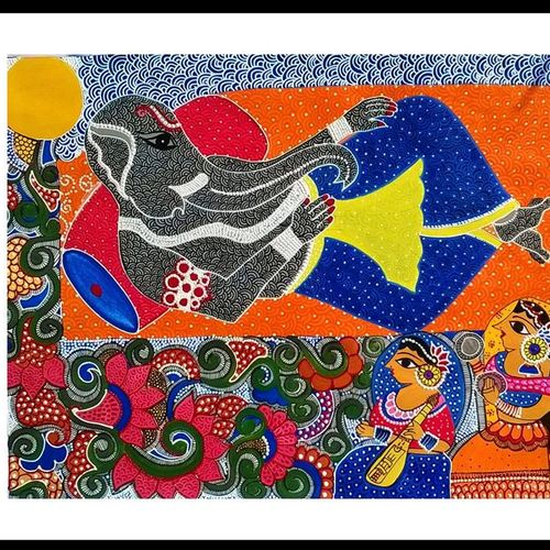 lord ganesha with riddhi & siddhi, 19 x 15 inch, swati jain,19x15inch,thick paper,paintings,folk art paintings,paintings for living room,paintings for office,acrylic color,GAL01320723238