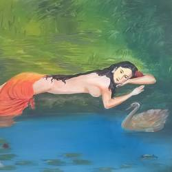 shakuntala in despair, 24 x 18 inch, sayantan  ghati ,expressionist paintings,paintings for bedroom,cloth,oil,24x18inch,GAL07702324