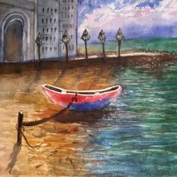 anchored boat, 15 x 11 inch, surendra  panchal,15x11inch,handmade paper,paintings,landscape paintings,paintings for living room,paintings for office,watercolor,GAL01323523256