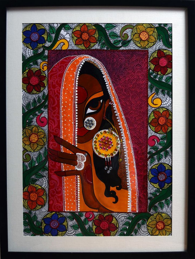 mrignayani in madhubani frame, 15 x 19 inch, swati jain,15x19inch,thick paper,paintings,madhubani paintings,acrylic color,GAL01320723257