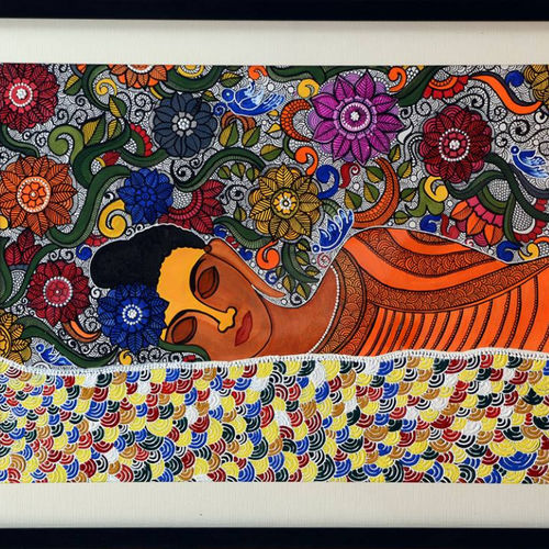 sleeping buddha, 19 x 15 inch, swati jain,19x15inch,thick paper,paintings,folk art paintings,acrylic color,GAL01320723259