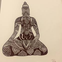 buddha doodle art, 11 x 15 inch, dharshini veeraiyan,11x15inch,drawing paper,drawings,abstract drawings,buddha drawings,paintings for living room,paintings for bedroom,paintings for office,paintings for kids room,paintings for school,ink color,pen color,GAL01322823265