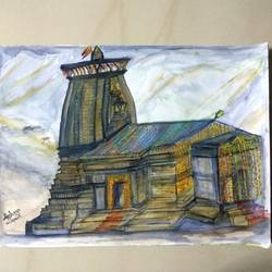 kedarnath, 16 x 12 inch, akshaya balakrishnan,16x12inch,thick paper,paintings,landscape paintings,religious paintings,paintings for dining room,paintings for living room,paintings for bedroom,paintings for office,paintings for hotel,paintings for school,watercolor,GAL01328823293