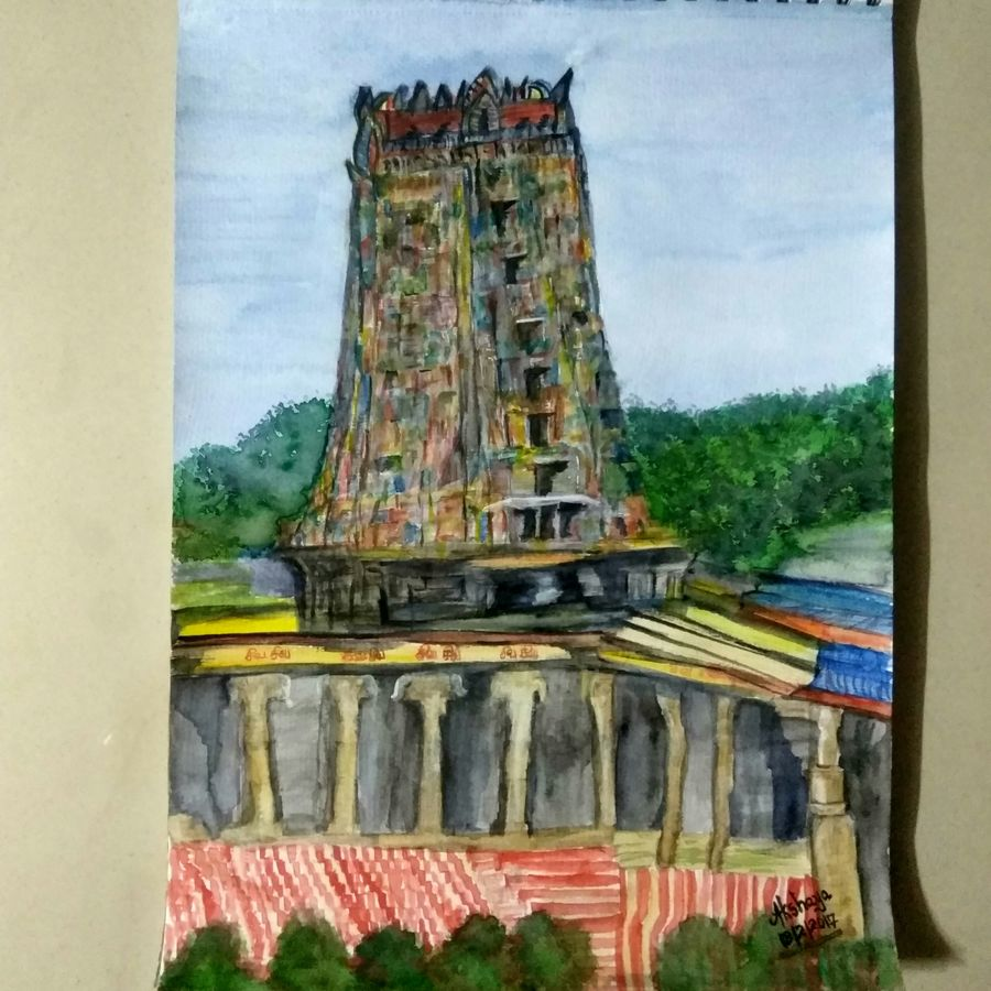 meenakshi temple, 12 x 16 inch, akshaya balakrishnan,12x16inch,thick paper,paintings,abstract paintings,landscape paintings,modern art paintings,religious paintings,paintings for living room,paintings for bedroom,paintings for office,paintings for kids room,paintings for hotel,paintings for kitchen,paintings for hospital,watercolor,GAL01328823298