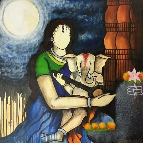 moh, 36 x 34 inch, mrinal  dutt,36x34inch,canvas,paintings,figurative paintings,religious paintings,contemporary paintings,lord shiva paintings,paintings for dining room,paintings for living room,paintings for bedroom,paintings for office,paintings for hotel,paintings for kitchen,paintings for hospital,acrylic color,GAL01311723307
