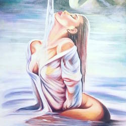 bathing lady, 25 x 46 inch, bharti marjara,25x46inch,canvas,paintings,figurative paintings,paintings for bathroom,acrylic color,GAL01314823319