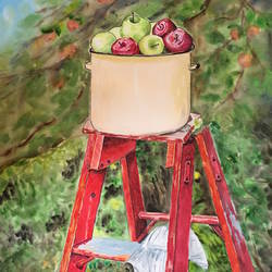 apple garden , 17 x 23 inch, smita yadav,17x23inch,brustro watercolor paper,paintings,still life paintings,watercolor,GAL01310423326